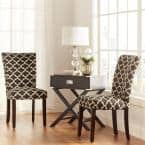 Espresso Vulcan Black Pattern Fabric Parson Chair (Set of 2)