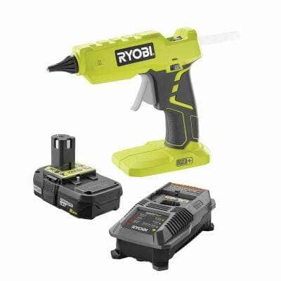 18-Volt ONE+ Cordless Full Size Glue Gun with 3 General Purpose Glue Sticks, 2.0 Ah Lithium-Ion Battery, and Charger