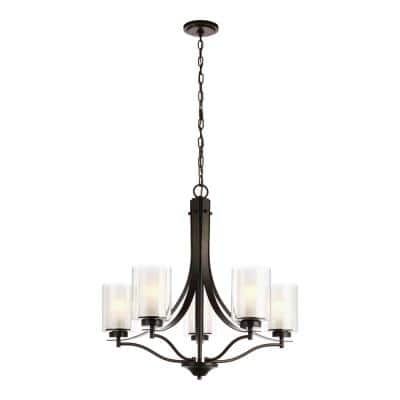 Elmwood 5-Light Bronze Modern Transitional Candlestick Chandelier with Satin Etched Glass Shades and LED
