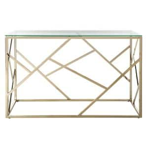 Namiko 48 in. Clear/Brass Standard Rectangle Glass Console Table