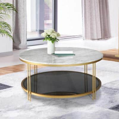 36 in. White/Gold Medium Round Faux Marble Coffee Table with Black Storage Shelf
