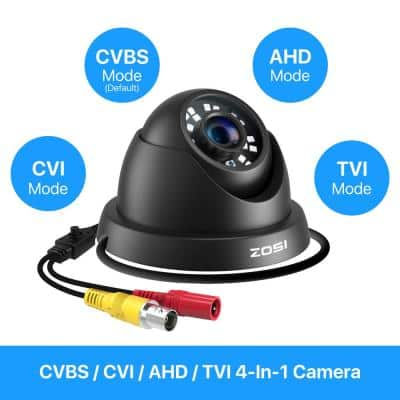 Wired 1080p Indoor/Outdoor Dome Security Camera 4-in-1 Compatible for TVI/CVI/AHD/CVBS DVR