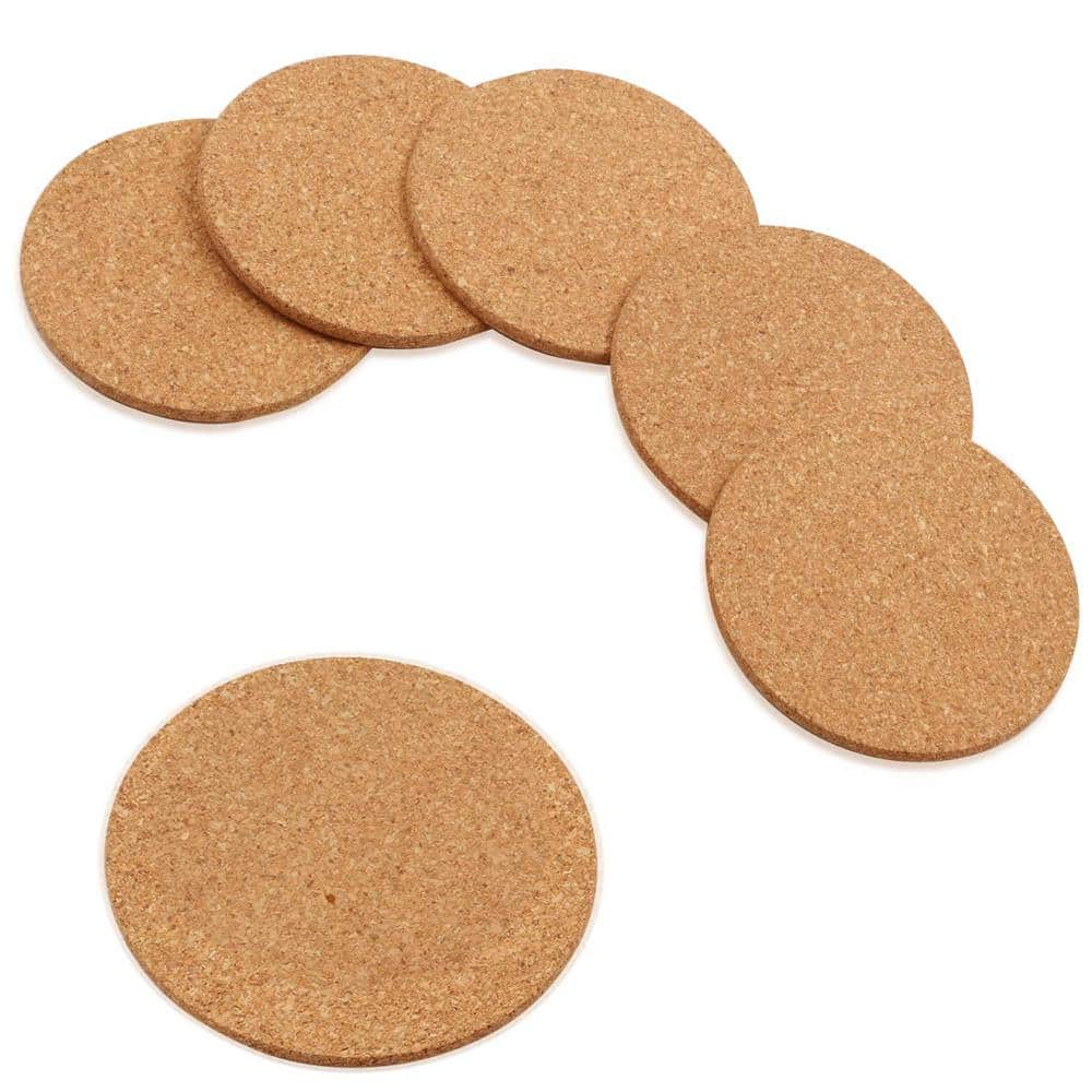 Betus Round Cork Coasters 4 In Diameter And 1 5 In Thick Brown With Metal Holder Bulk Set 16 Piece B Coaster Cork 16pc The Home Depot