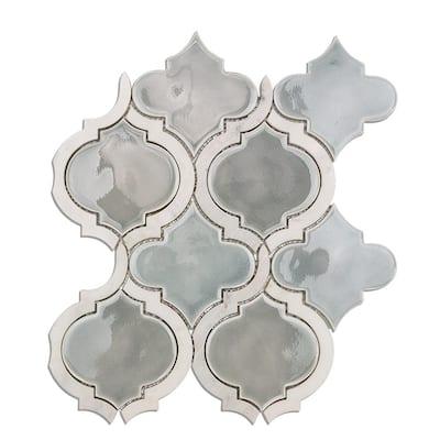 Delphi Arabesque Arctic Blue 10 in. x 12 in. Glazed Ceramic Mosaic Tile (0.80 sq. ft./Sheet)