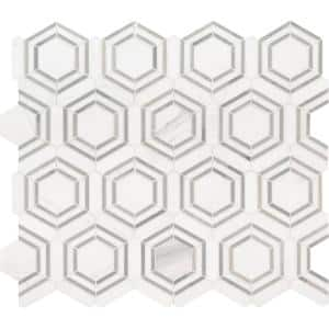 Georama Grigio 13 in. x 11 in. x 10 mm Polished Marble Mosaic Tile (9.99 sq. ft. / case)