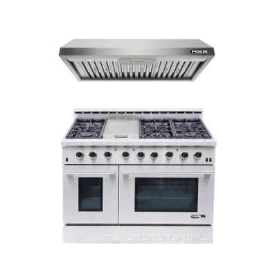 Entree Bundle 48 in. 7.2 cu. ft. Pro-Style Dual Fuel Range Convection Oven and Range Hood in Stainless Steel and Black