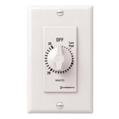 20 Amp 30-Minute Indoor In-Wall Spring Wound Timer, White