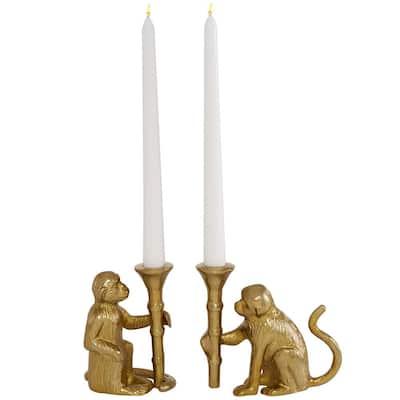 Gold Aluminum Glam Candle Holder (Set of 2)