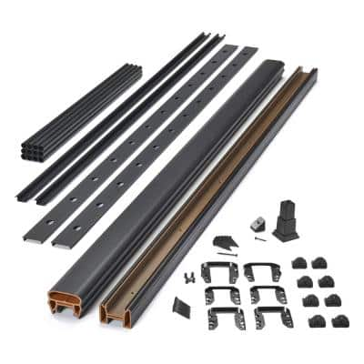 Transcend 8 ft. Black Composite Rail and Black Aluminum Round Baluster Kit with Stair 42 in. Rail Height (BKRD0842SRK)