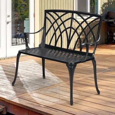 Classic 38 in. 2-Person Black Cast Aluminum Outdoor Bench