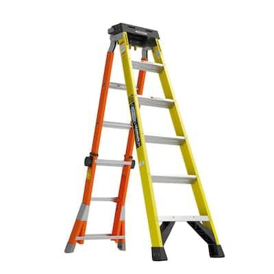 LEANSAFE X5 14 ft. Reach Height Fiberglass Multi-Position Ladder, 375 lbs. Load Capacity Type IAA