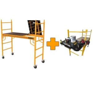 Safeclimb 6 ft. x 6.15 ft. x 2.5 ft. Baker Style Scaffold 1100 lbs. Capacity with Tool Tray