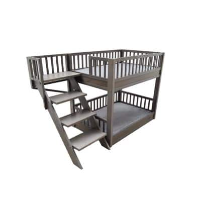 ECOFLEX Large Grey Dog Bunk Bed with Removable Cushions