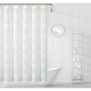 Megan 70 in. x 72 in. White Striped Shower Curtain
