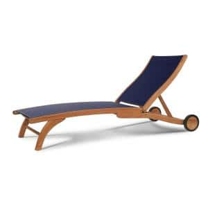 Pearl Teak Outdoor Chaise Lounge in Blue with Wheels