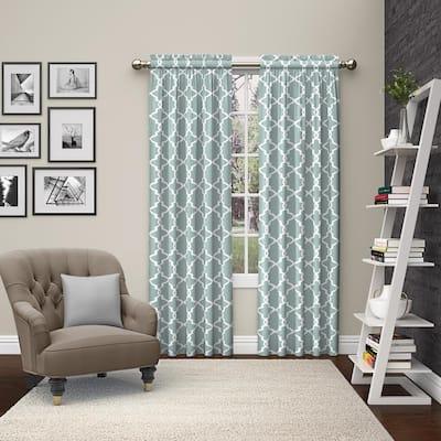 Spa Trellis Rod Pocket Room Darkening Curtain - 56 in. W x 84 in. L  (Set of 2)
