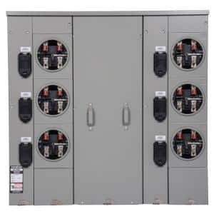 Uni-PAK 6-Gang 600 Amp Ringless Style Multi-Family Metering with Horn Bypass