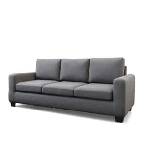 Shay83 in.Charcoal Polyester Upholstered 3-Seater Track Arm Sofawith Square Arms