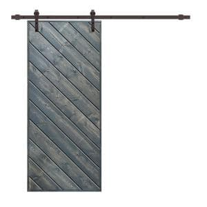 Modern European 36 in. x 84 in. Pre Assembled Nickel Gray Stained Solid Wood Sliding Barn Door with Hardware Kit