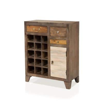 Macel 15-Bottle Autumn Brown Wine Rack with 3-Drawers
