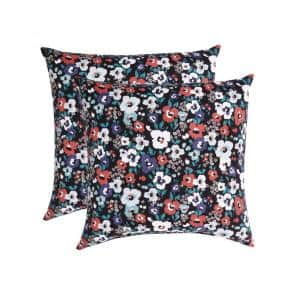 Maggie Black Midnight Square Outdoor Throw Pillow (2-Pack)