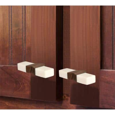 2-3/4 in. (70 mm) Toggle White and Light Brown Cabinet Knob