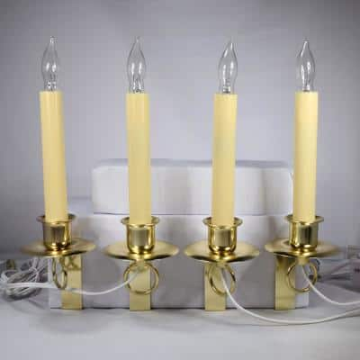 12 in. Electric Christmas Window Candles with Brass Holder (Set of 4)