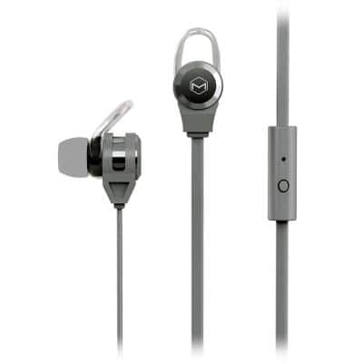 Platinum2 High Performance Secure-Fit Earphones with Tangle-Free Flat Cable and Mic in Gray