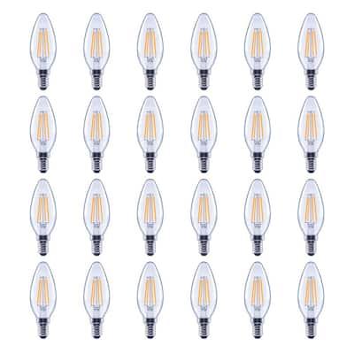60-Watt Equivalent B11 Candelabra Glass Vintage Decorative Edison Filament Dimmable LED Light Bulb Soft White (24-Pack)