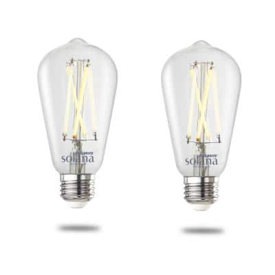 Solana 60-Watt Equivalent 90 CRI ST18 Smart WIFI Connected LED Edison Filament Light Bulb (2-Pack)