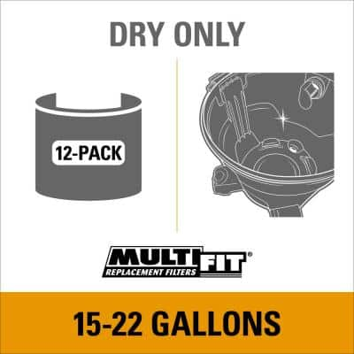 15 Gallon to 22 Gallon Dust Collection Bags for Shop-Vac Branded Wet/Dry Shop Vacuums (12-Pack)