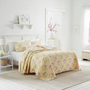 Melany Ruffled 1-Piece Yellow Floral Cotton Full/Queen Quilt