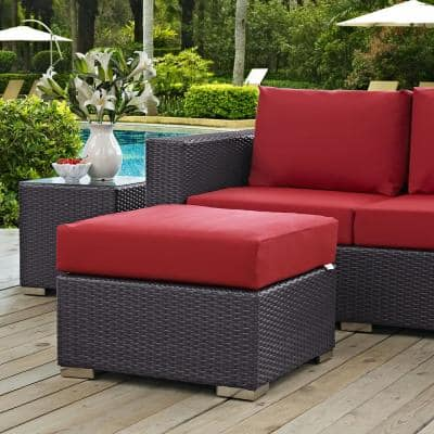 Convene Wicker Outdoor Patio Fabric Square Ottoman in Espresso with Red Cushion