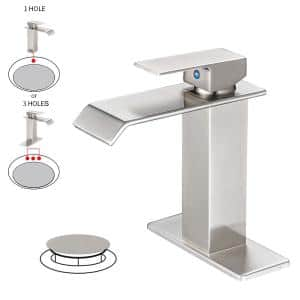 Waterfall Single Hole Single-Handle Low-Arc Bathroom Faucet With Supply Line and Escutcheon in Brushed Nickel