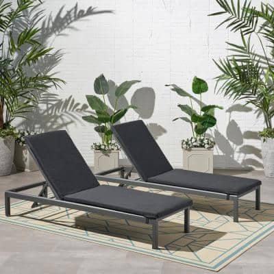 Cape Coral 25.25 in. x 2 in. 2-Piece Outdoor Lounge Chair Cushion in Dark Grey