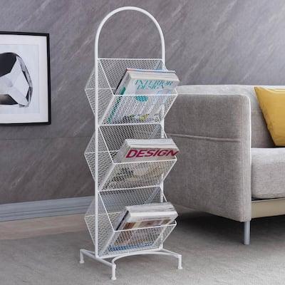 White Metal Wire Mesh Freestanding Magazine Holder