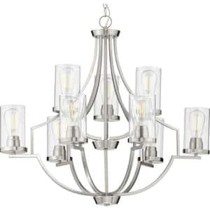 Lassiter Collection 9-Light Brushed Nickel Clear Glass Modern Chandelier Light