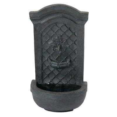Rosette Leaf Lead Electric Powered Outdoor Wall Fountain