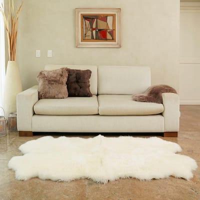 Natural White 3 ft. x 6 ft. Sheepskin Area Rug
