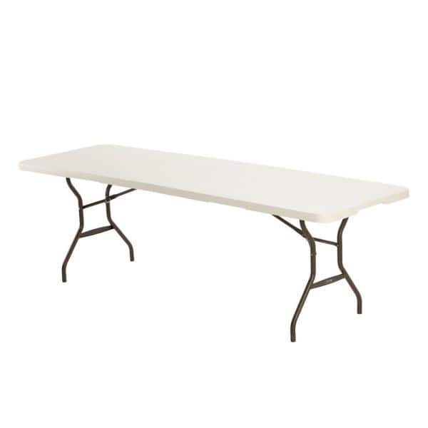 Lifetime 8 Ft Fold In Half Table Almond 80732 The Home Depot