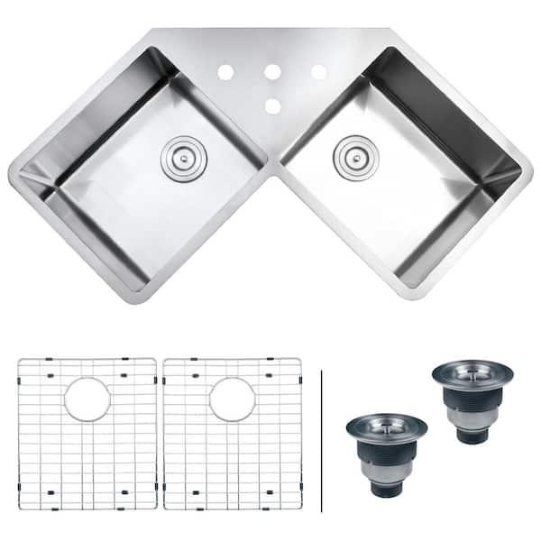 Ruvati 50 50 Undermount 16 Gauge Stainless Steel 44 In Corner Butterfly Double Bowl Kitchen Sink Rvh8400 The Home Depot