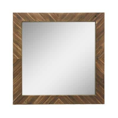 Medium Square Brown Casual Mirror (20 in. H x 20 in. W)