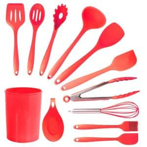 Red Silicone Cooking Utensils (Set of 12)