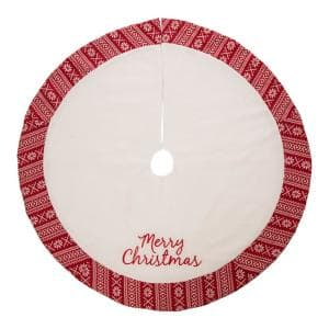 48 in. D White Fleece Christmas Tree Skirt - Merry Christmas