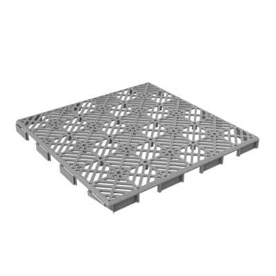 11.5 in. x 11.5 in. Outdoor Interlocking Diamond Polypropylene Patio and Deck Tile Flooring in Gray (Set of 6)