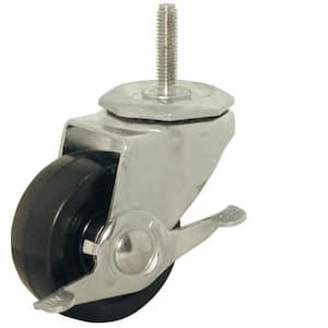4 Pack 2 Inch Stem Caster Wheel Swivel with Brake Brown Rubber Caster Wheels