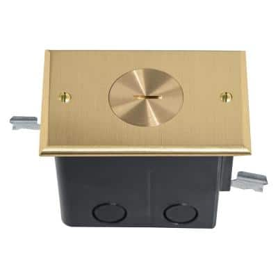 Pass & Seymour Slater Brass 1-Gang Floor Box with Single Tamper-Resistant Receptacle for Wood Sub-Floor