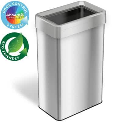 21 Gal. Rectangular Open Top Commercial Grade Stainless Steel Trash Can and Recycle Bin with Dual-Deodorizer