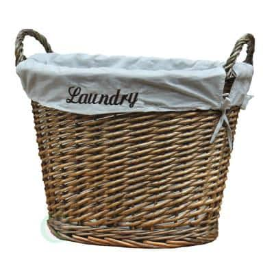 17.5 in. W x 14.3 in. D x 13 in. H Wicker Laundry Basket with White Liner
