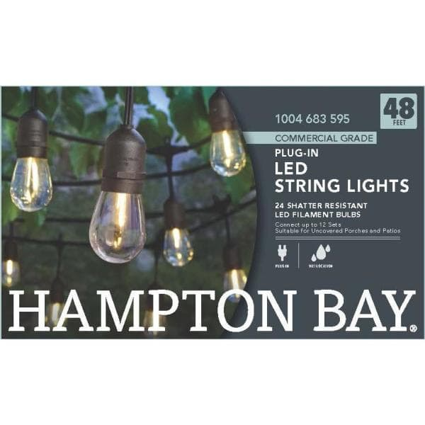 Hampton Bay 24 Light Indoor Outdoor 48 Ft String Light With S14 Single Filament Led Bulbs 10328 The Home Depot